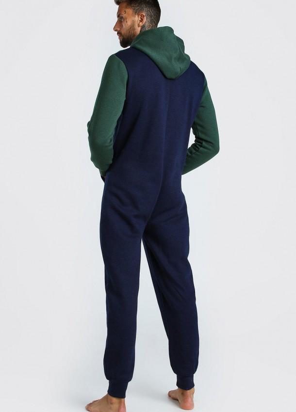 Vyriškas kombinezonas mėlynos ir žalios spalvos