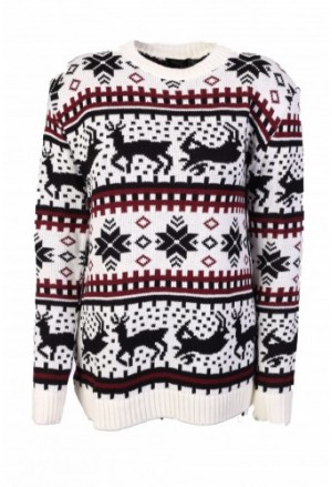 Baltas kalėdinis moteriškas megztinis /> </a> <span class=
