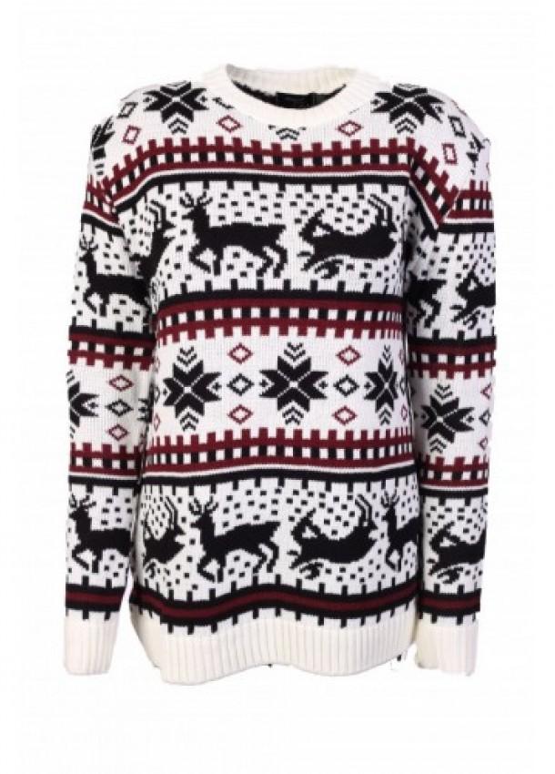 Baltas kalėdinis moteriškas megztinis
