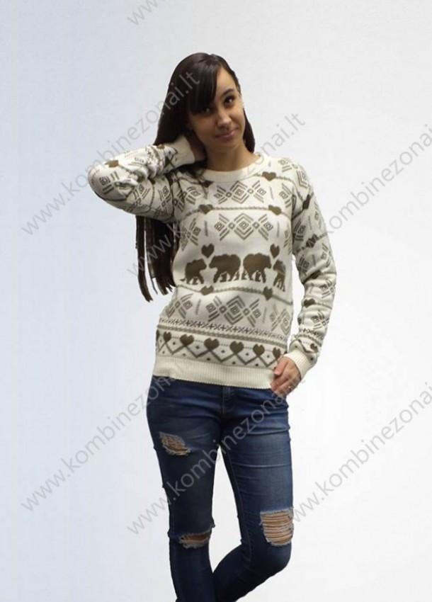Moteriškas kalėdinis megztinis baltos spalvos