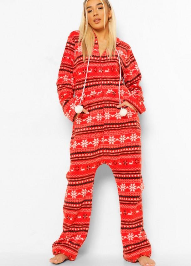 Moteriškas raudonas kalėdinis kostiumas