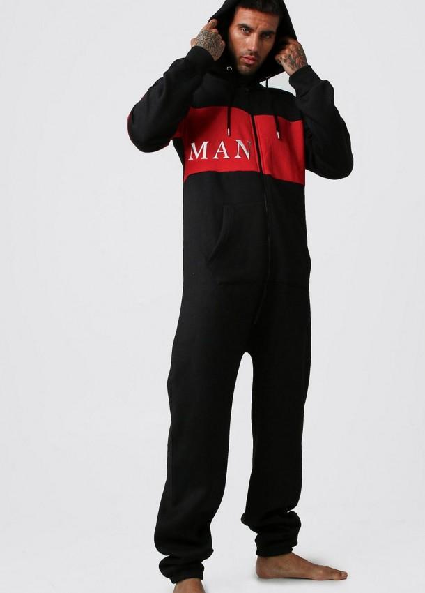 Vyriška kombinezonas juodas su raudonais elementais