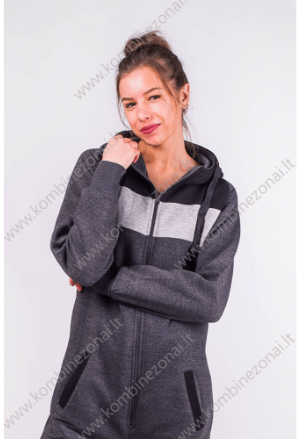 Kombinezonai moterims - pilkas kelių atspalvių kombinezonas
