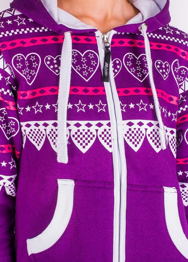 Moteriškas kombinezonas violetinės spalvos su širdelių raštais
